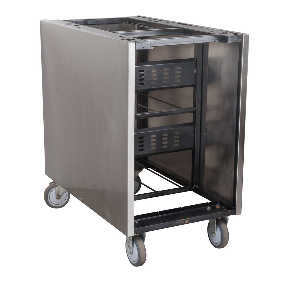 Rolling Stainless Cabinet w/ Syrup Racks (angle)